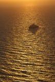 Sunset over Aegean sea near Oia village on Santorini Stock Photo
