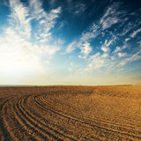 Sunset over agricultural field. Sunset over black agricultural field Royalty Free Stock Photos
