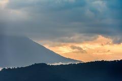 Sunset over Agua volcano, Antigua, Guatemala Stock Images