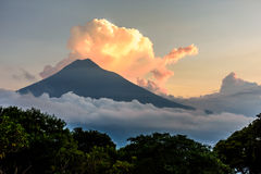 Sunset over Agua volcano. Near Spanish colonial town & UNESCO World Heritage Site of Antigua, Guatemala, Central America Royalty Free Stock Images