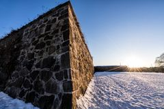 Sunset over Akershus Fortress in Oslo, Norway. Beautiful sunset over Akershus Fortress in Oslo, Norway royalty free stock images