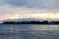 Sunset over Ala Moana Beach. Memorial Day 2016 Stock Photos