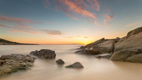 Sunset over Algajola beach in Corsica Royalty Free Stock Images