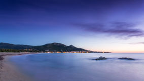 Sunset over Algajola beach in Corsica Stock Images