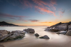 Sunset over Algajola beach in Corsica Royalty Free Stock Image