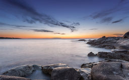 Sunset over Algajola beach in Corsica Royalty Free Stock Photography