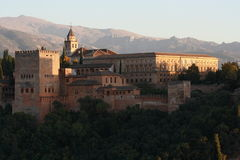 Sunset over Alhambra palace in Granada Royalty Free Stock Image