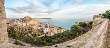 Sunset over Alicante, view of the city skyline, bay and sea.. Stock Photography
