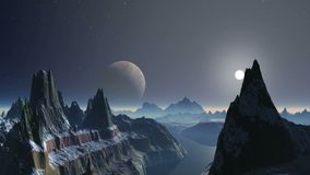 Sunset over Alien Planet. Bright sun in a halo quickly sits down at the misty horizon. On a dark starry sky big moon. High snow-covered rocks with sharp peaks stock illustration