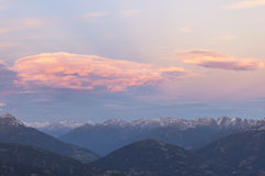 Sunset over the alps Royalty Free Stock Photos