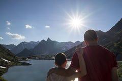 Sunset over the Alps - Saint Bernard Pass Royalty Free Stock Images