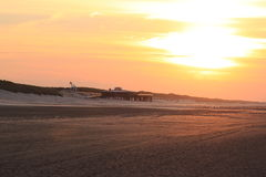 Sunset over Ameland beach, the Netherlands Royalty Free Stock Image