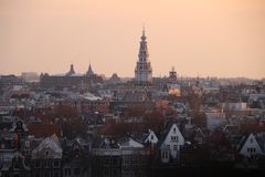 Sunset over Amsterdam. View of Amsterdam in the late afternoon Stock Photos