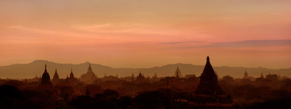 Sunset over ancient Buddhist Temples at Bagan, Myanmar (Burma) Stock Photo