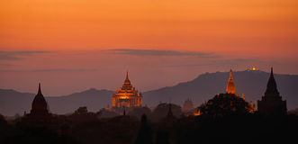 Sunset over ancient Buddhist Temples at Bagan, Myanmar (Burma) Royalty Free Stock Photo