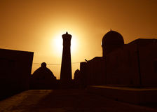 Sunset over ancient city of Bukhara stock photos