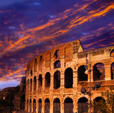 Sunset over the ancient Colosseum. Rome. Italy Stock Photography