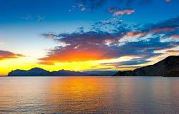 Sunset over the ancient volcano Karadag, Crimea stock photos
