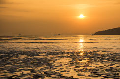 Sunset over the Andaman sea in Ao Nang,  Thailand Royalty Free Stock Image