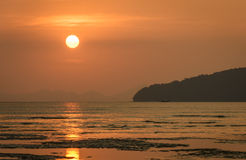 Sunset over the Andaman sea in Thailand Royalty Free Stock Images