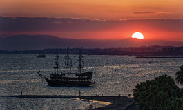 Sunset over the Antalya bay Stock Photos
