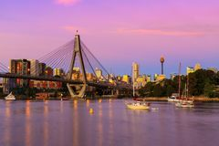 Anzac Bridge in Sydney City, Australia. Sunset over the Anzac Bridge, Sydney, Australia stock photo