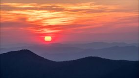Sunset over the Appalachian Mountains. As seen from Mount Mitchell in North Carolina stock video footage