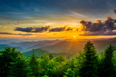 Sunset over the Appalachian Mountains from Caney Fork Overlook o stock images