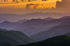 Sunset over the Appalachian Mountains from Caney Fork Overlook o Royalty Free Stock Image