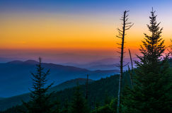 Sunset over the Appalachian Mountains from Clingman's Dome in Gr Royalty Free Stock Photo