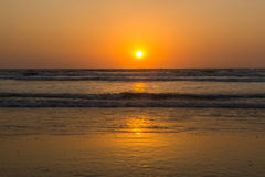 Sunset over Arabian sea, Indian ocean, on Arambol beach, Goa, In Royalty Free Stock Photo