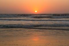 Sunset over Arabian sea, Indian ocean, on Arambol beach, Goa, In Stock Image