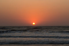 Sunset over Arabian sea, Indian ocean, on Arambol beach, Goa, In. Dia Stock Image