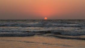 Sunset over Arabian sea, Indian ocean, on Arambol beach, Goa, In. Dia Stock Photos