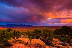 Sunset Over Arches National Parl Royalty Free Stock Images