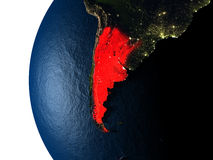 Sunset over Argentina from space Royalty Free Stock Photo