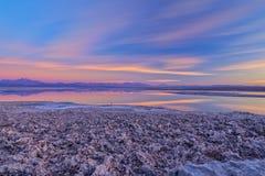 Sunset over Atacama salar and Chaxa lagoon stock photography
