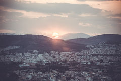 Sunset over Athens Royalty Free Stock Photos