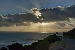 Sunset over the Atlantic from Chapman's Peak Drive. Royalty Free Stock Images