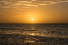 Sunset over the Atlantic Ocean from Boa Vista, Cape Verde, Africa royalty free stock photos