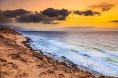 Sunset over Atlantic ocean. Fuerteventura Royalty Free Stock Image