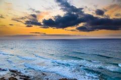 Sunset over Atlantic ocean. Fuerteventura Royalty Free Stock Photos