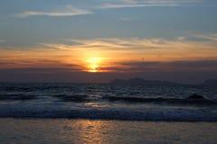 Sunset over Atlantic ocean Galicia royalty free stock photo