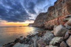 Sunset over atlantic ocean at Gran Canaria island Stock Photography