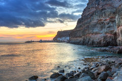 Sunset over atlantic ocean at Gran Canaria Royalty Free Stock Photo