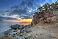 Sunset over atlantic ocean at Gran Canaria Stock Photo
