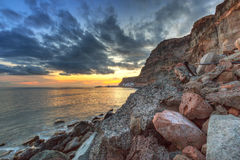 Sunset over atlantic ocean at Gran Canaria Royalty Free Stock Photos