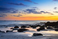 Sunset over atlantic ocean at Gran Canaria island Royalty Free Stock Photo