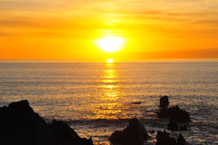 Sunset over Atlantic Ocean, Hartland Quay, Devon Royalty Free Stock Image