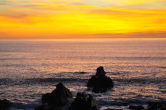 Sunset over Atlantic Ocean, Hartland Quay, Devon Royalty Free Stock Images